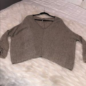 Free People Tan Cashmere/Wool Oversized Sweater